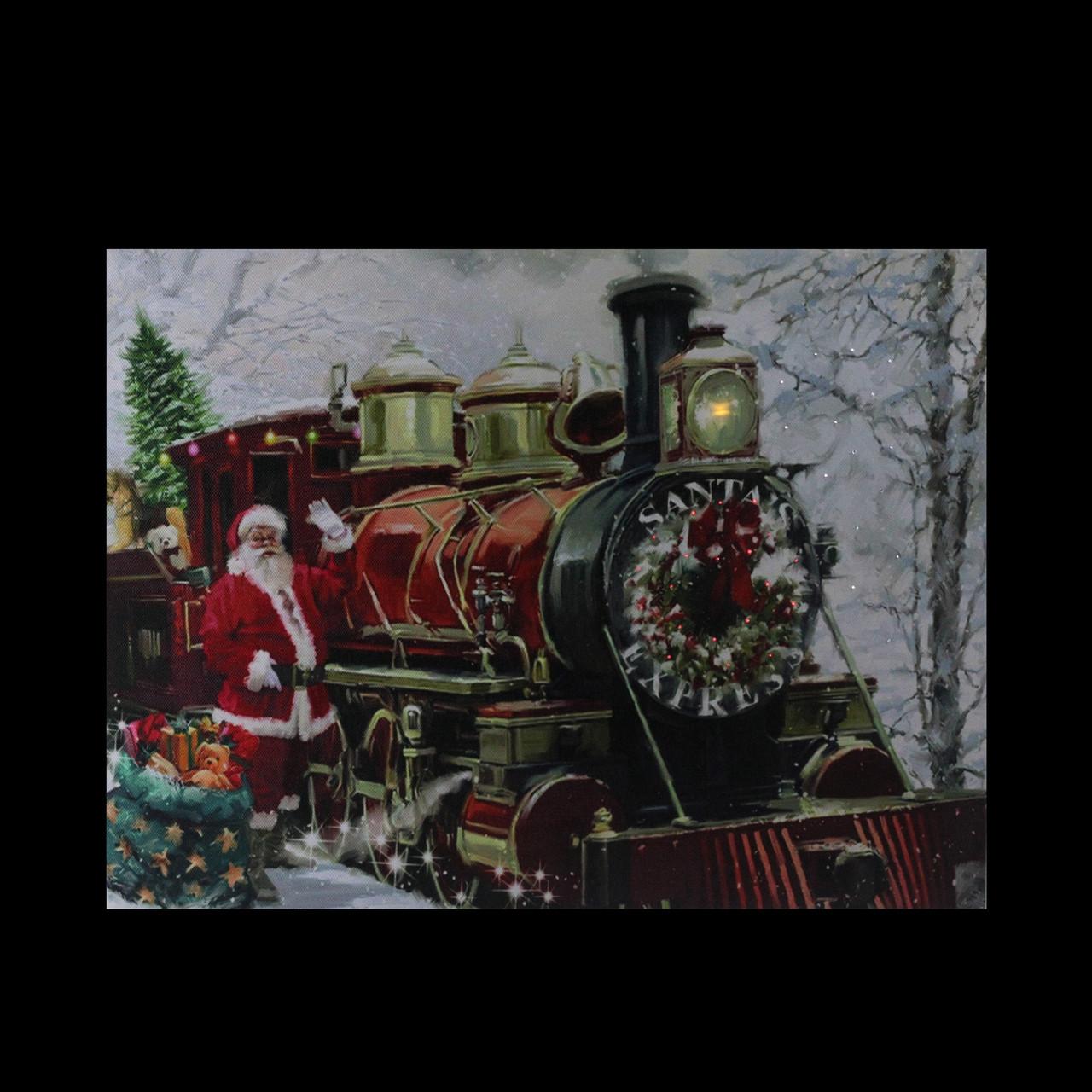 "Fiber Optic & LED Lighted ""Santa's Express"" Canvas Wall ..."