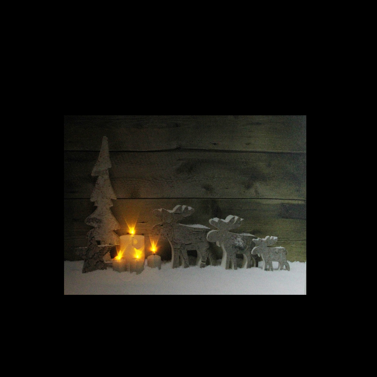 led lighted flickering candles and winter wooden moose canvas wall art 12 x 1575 32621255 - Lighted Christmas Wall Decorations