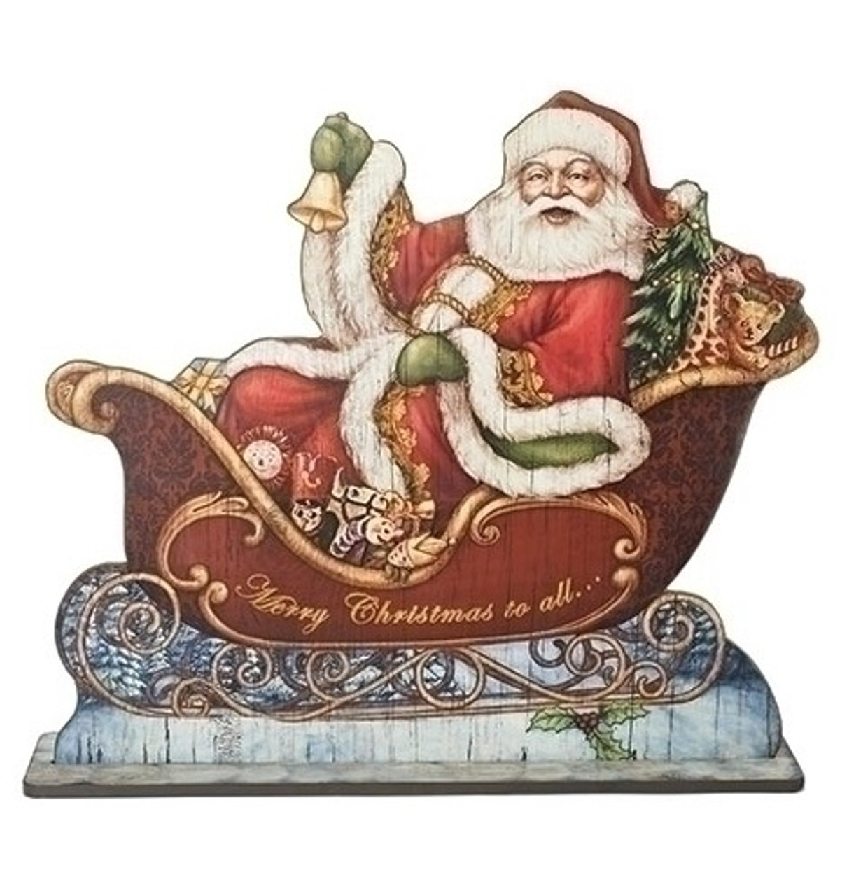 30 vibrantly colored santa in sleigh with gifts and bell floor plaque christmas figure 32622400