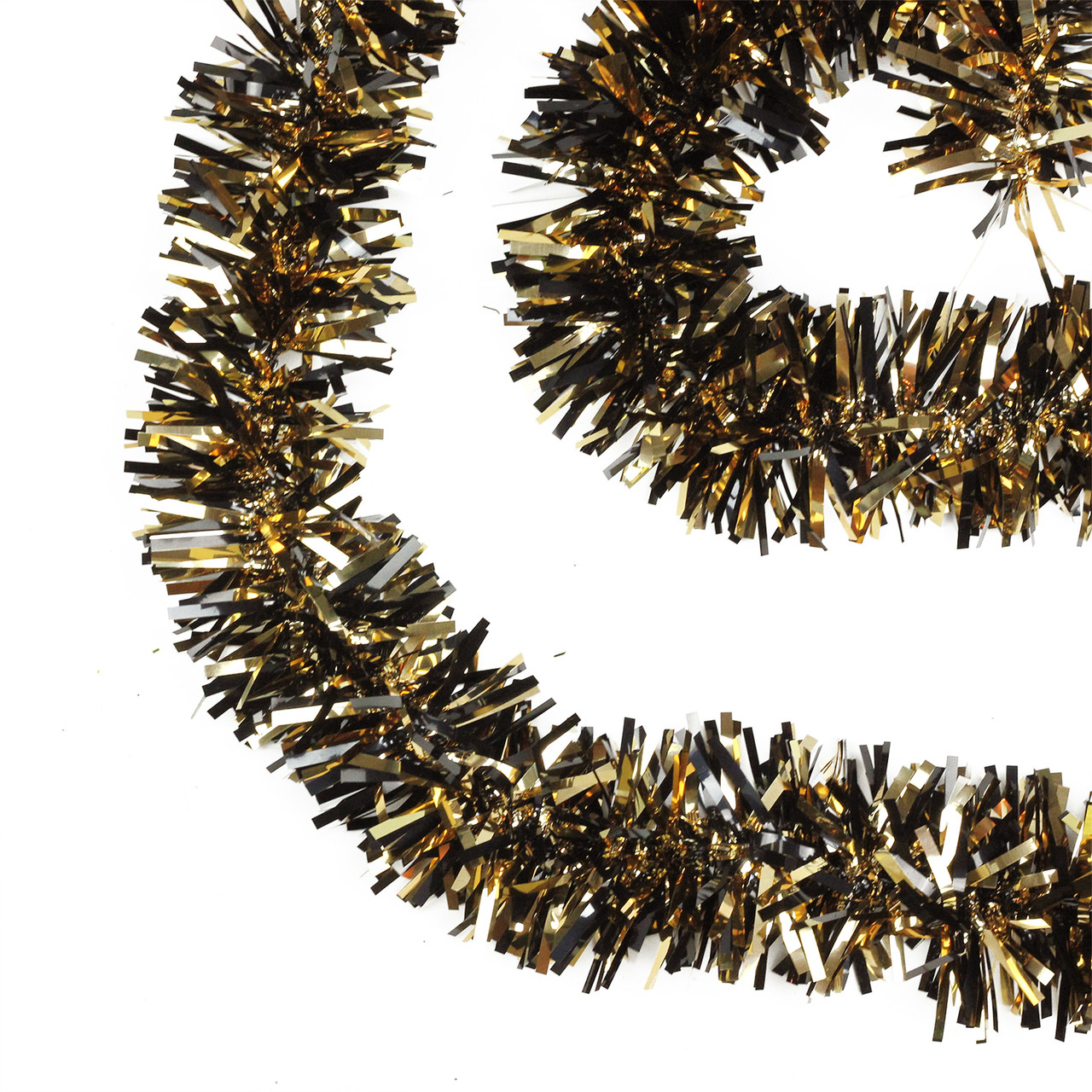 Black gold wide cut tinsel halloween garland unlit