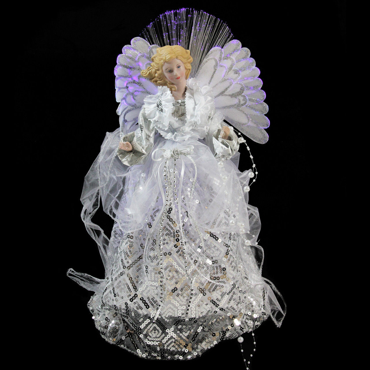 """16"""" Lighted Fiber Optic Angel in White & Silver Sequined ..."""
