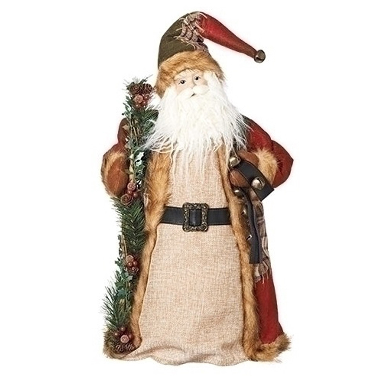 18 patchwork plaid santa claus decorative christmas tree topper or figurine 32624135