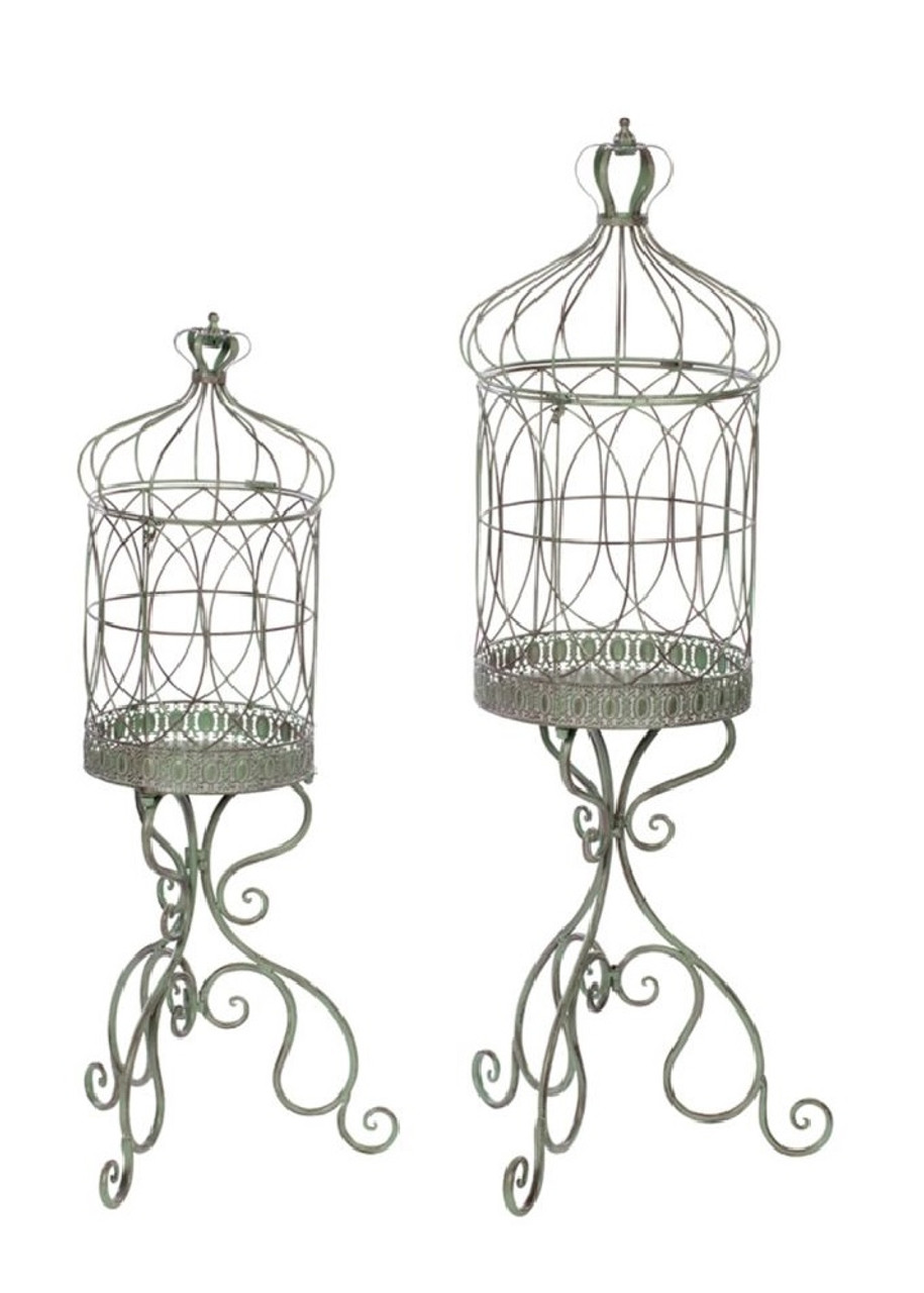 Set of 2 Delicate Fine Chicken Wire Decorative Bird Cage Plant Stand ...