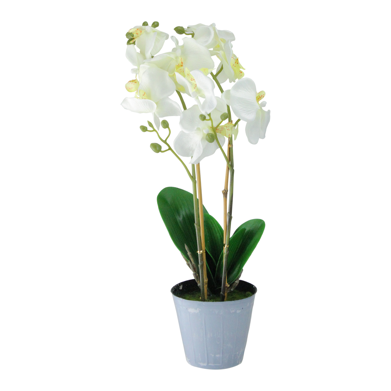 Potted White Phalaenopsis Orchid Artificial Silk Flower Arrangement
