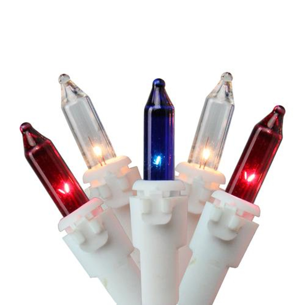 Set of 150 Red, White and Blue Mini Chasing Christmas Lights - White ...