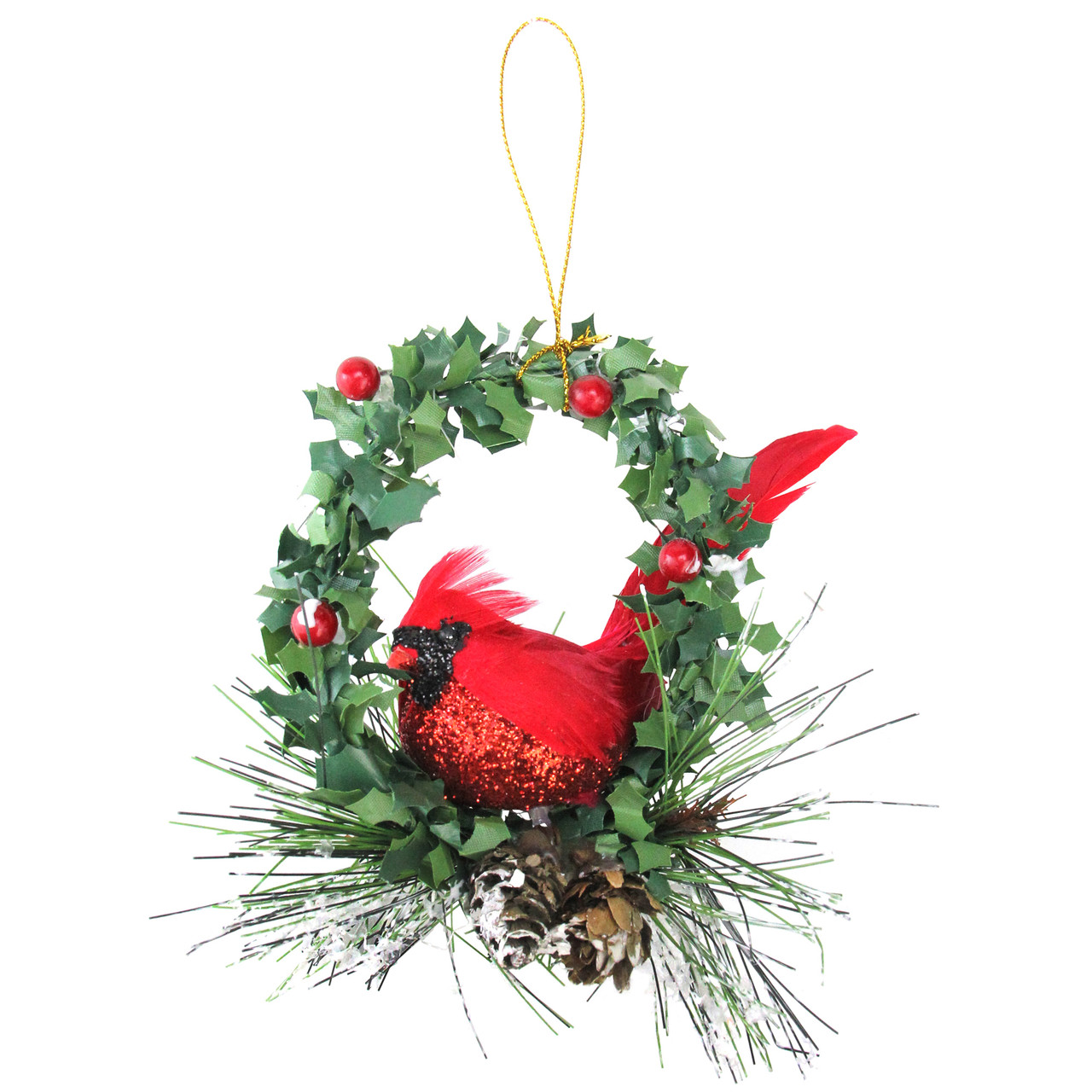 525 red and black glittered cardinal in a holly wreath christmas ornament 32626958