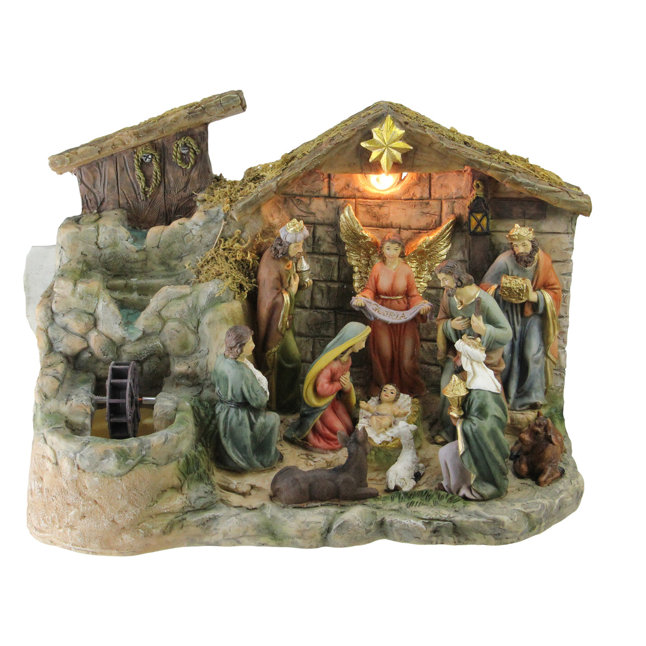 13 Christmas Nativity Scene Indoor Tabletop Water Fountain With Warm White Light