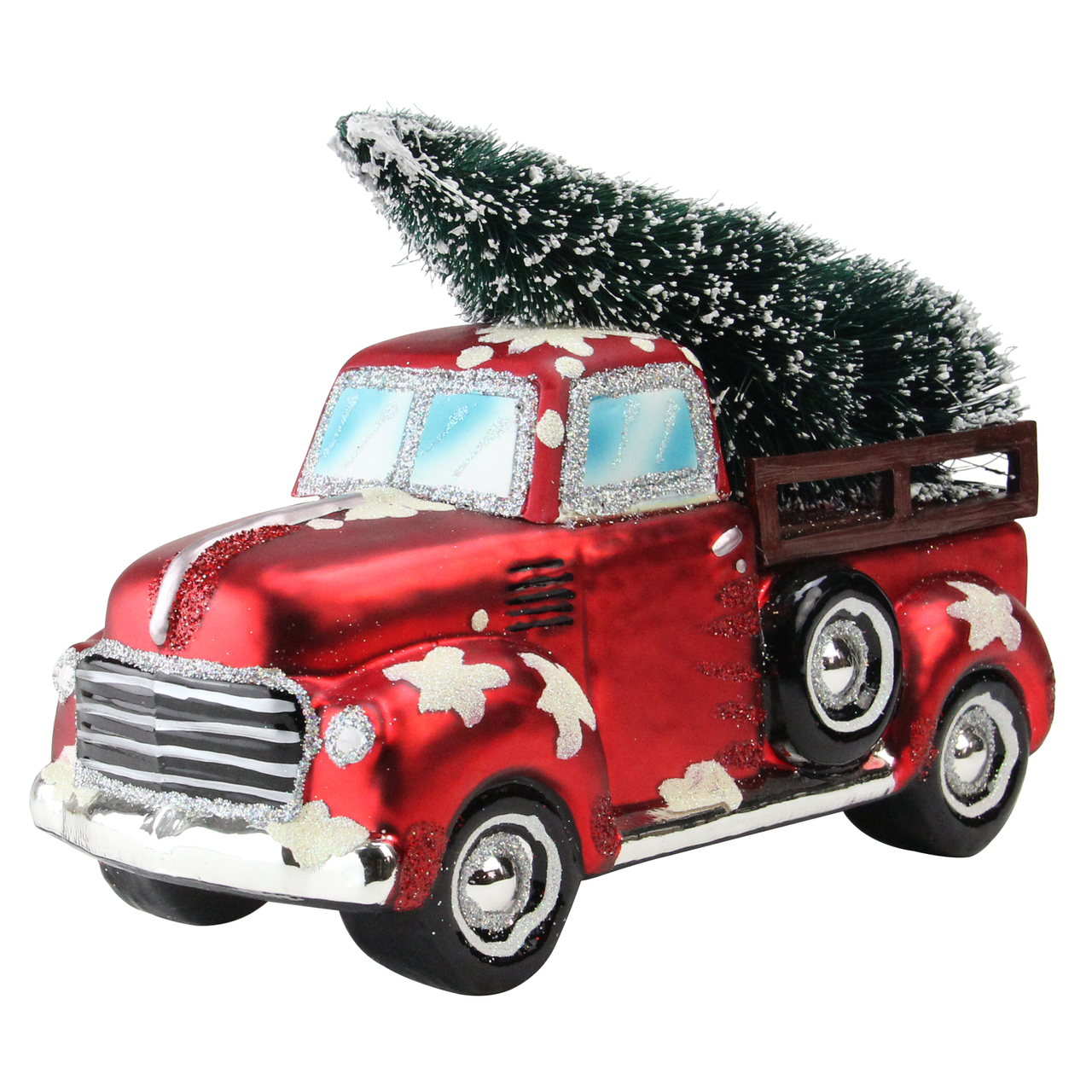 red truck christmas earrings