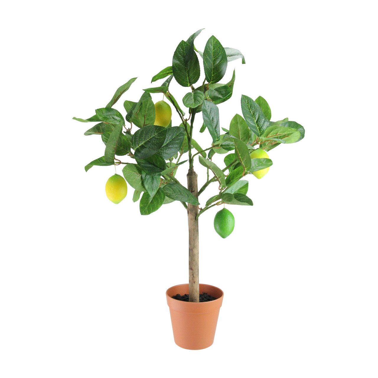 """Potted Christmas Trees For Sale: 25"""" Artificial Potted Lemon Tree In Brown Pot"""
