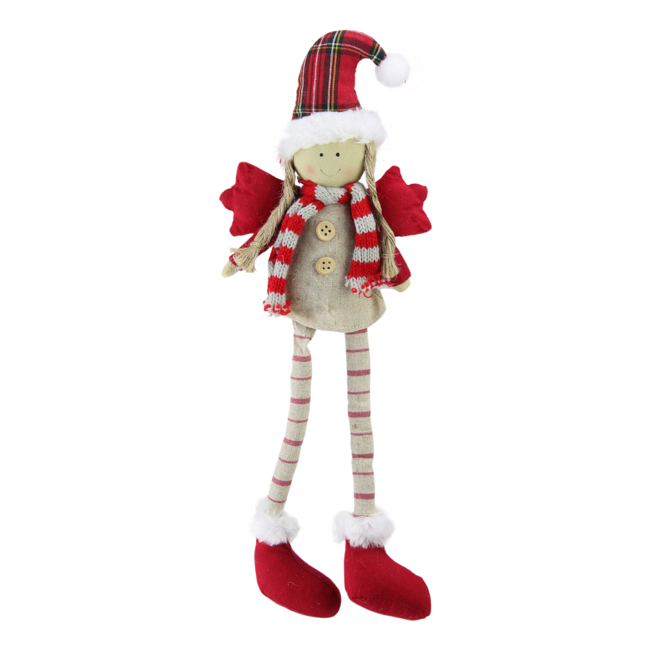"Image result for Northlight 14"" Sitting Girl Angel with Dangling Legs with a Plaid Hat Tabletop Decoration"