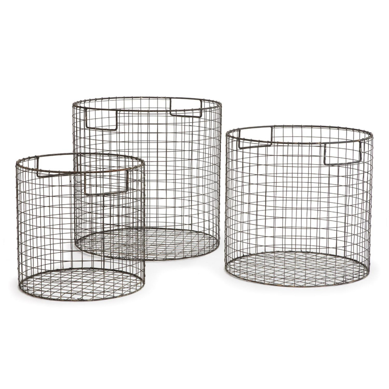 Set of 3 Matte Gray Finish Decorative Round Metal Wire Baskets ...