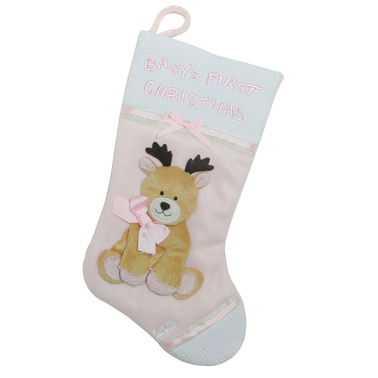 16 pink and white babys first christmas with reindeer applique fleece christmas stocking 32629164
