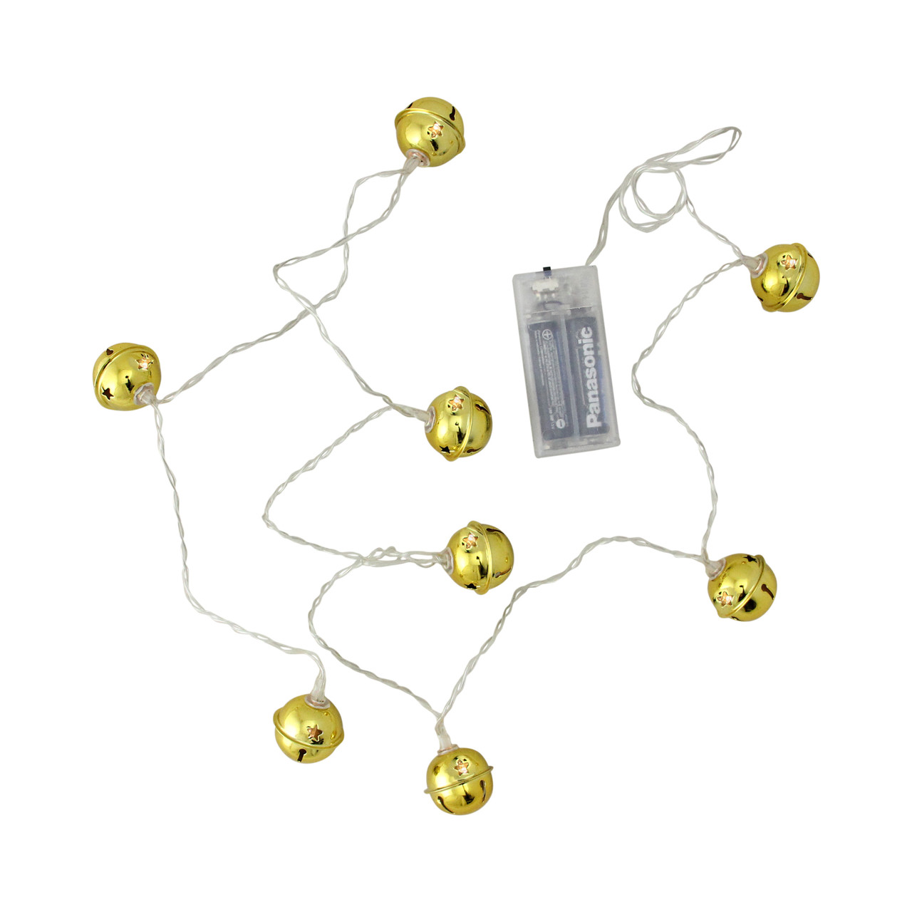 8ct led gold jingle bell with star cut outs battery operated christmas lights clear wire 32606791