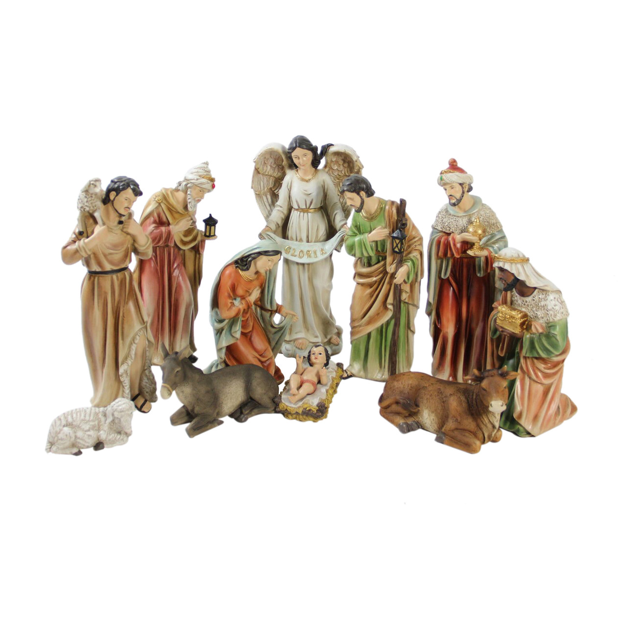 11-Piece Traditional Religious Christmas Nativity Set with Removable ...