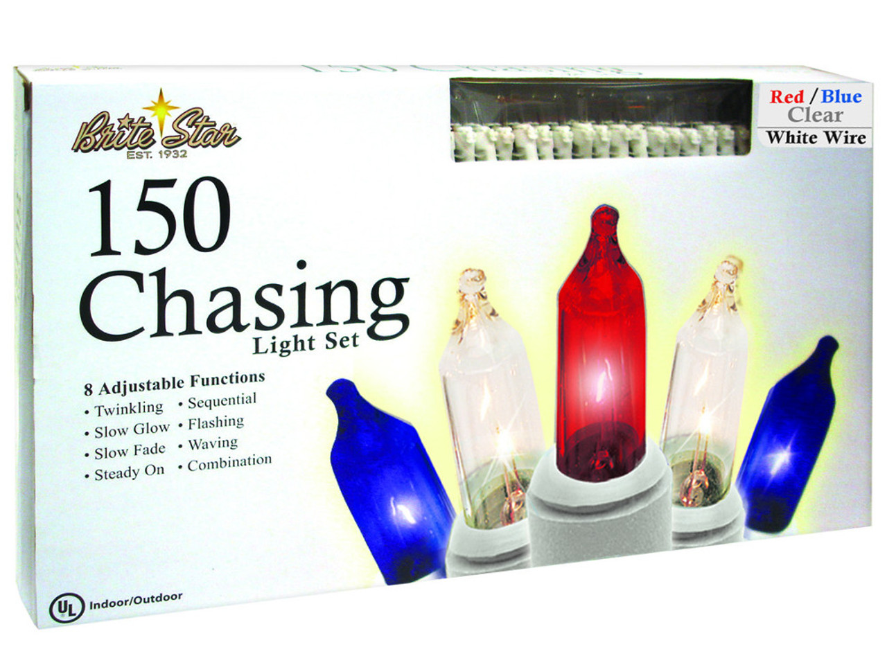 Set of 150 Patriotic Red, White & Blue 8 Function Christmas Lights ...