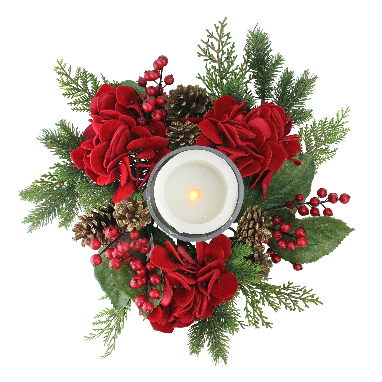 """15"""" Artificial Mixed Pine & Red Hydrangea Decorative ..."""
