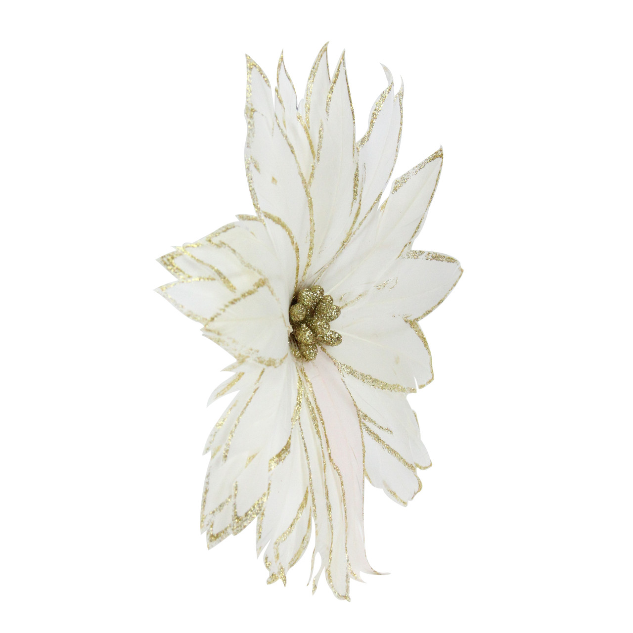 75 Gilded White Christmas Glittered Poinsettia Feather Clip On