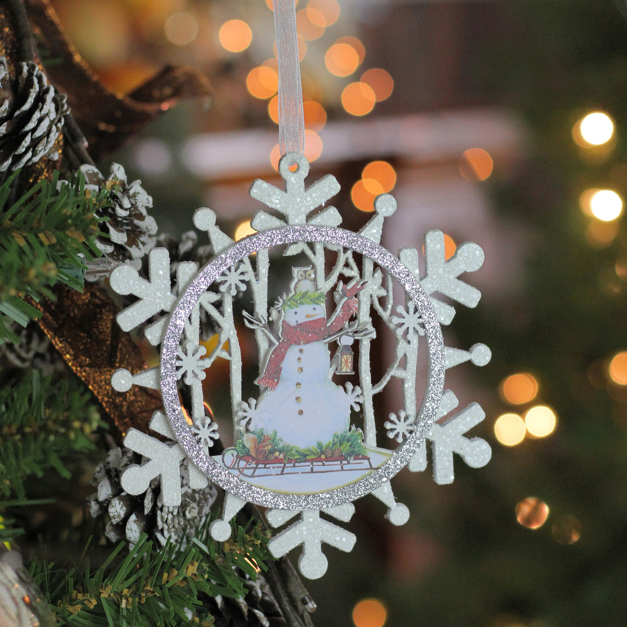 5 white and silver snowman on a sled glittered cut out snowflake wooden christmas ornament 32632791