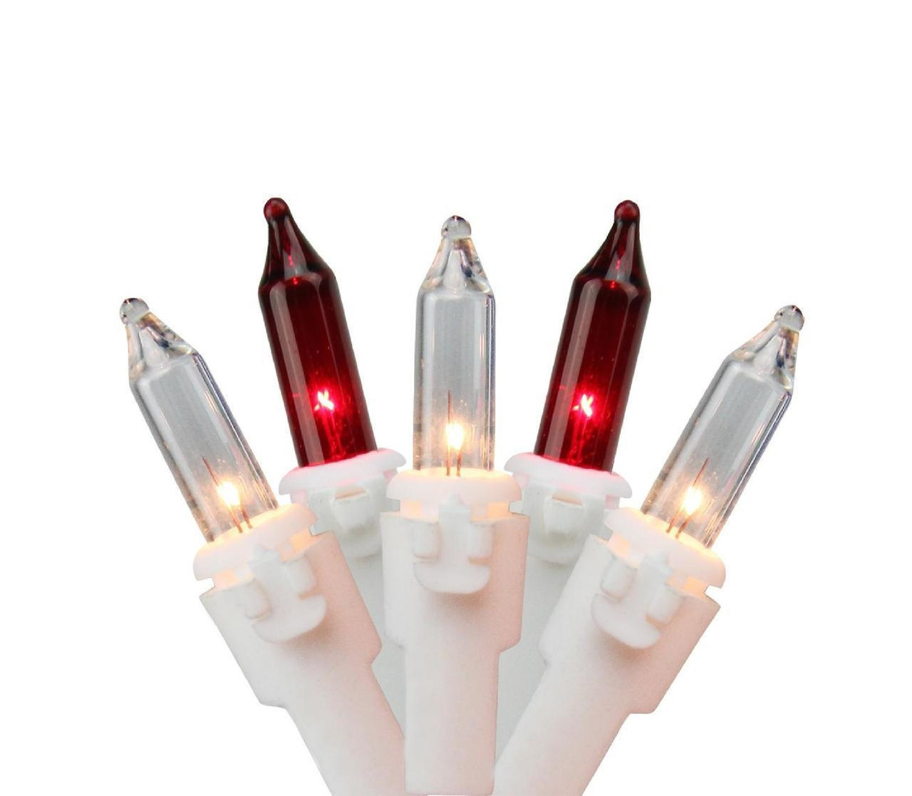 """Set of 150 Red & Clear Mini Icicle Christmas Lights 3"""" Spacing ..."""