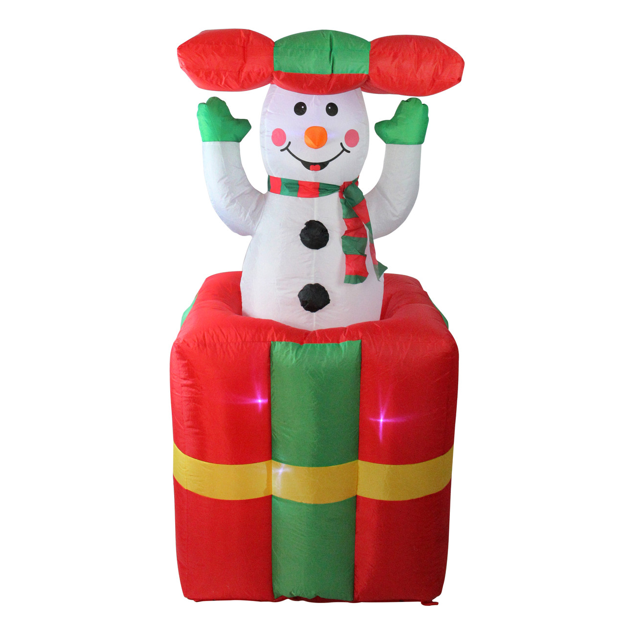 5 lighted inflatable pop up snowman in gift box christmas outdoor decoration 32634956 - Inflatable Christmas