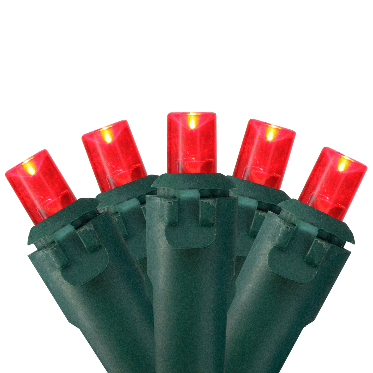 Set of 50 Red LED Wide Angle Christmas Lights on Green Wire ...