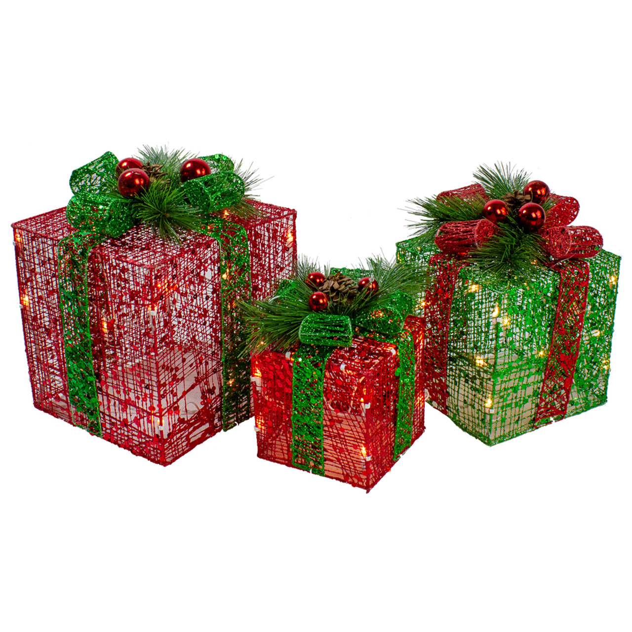 Set Of 3 Lighted Christmas Gift Packages Outdoor