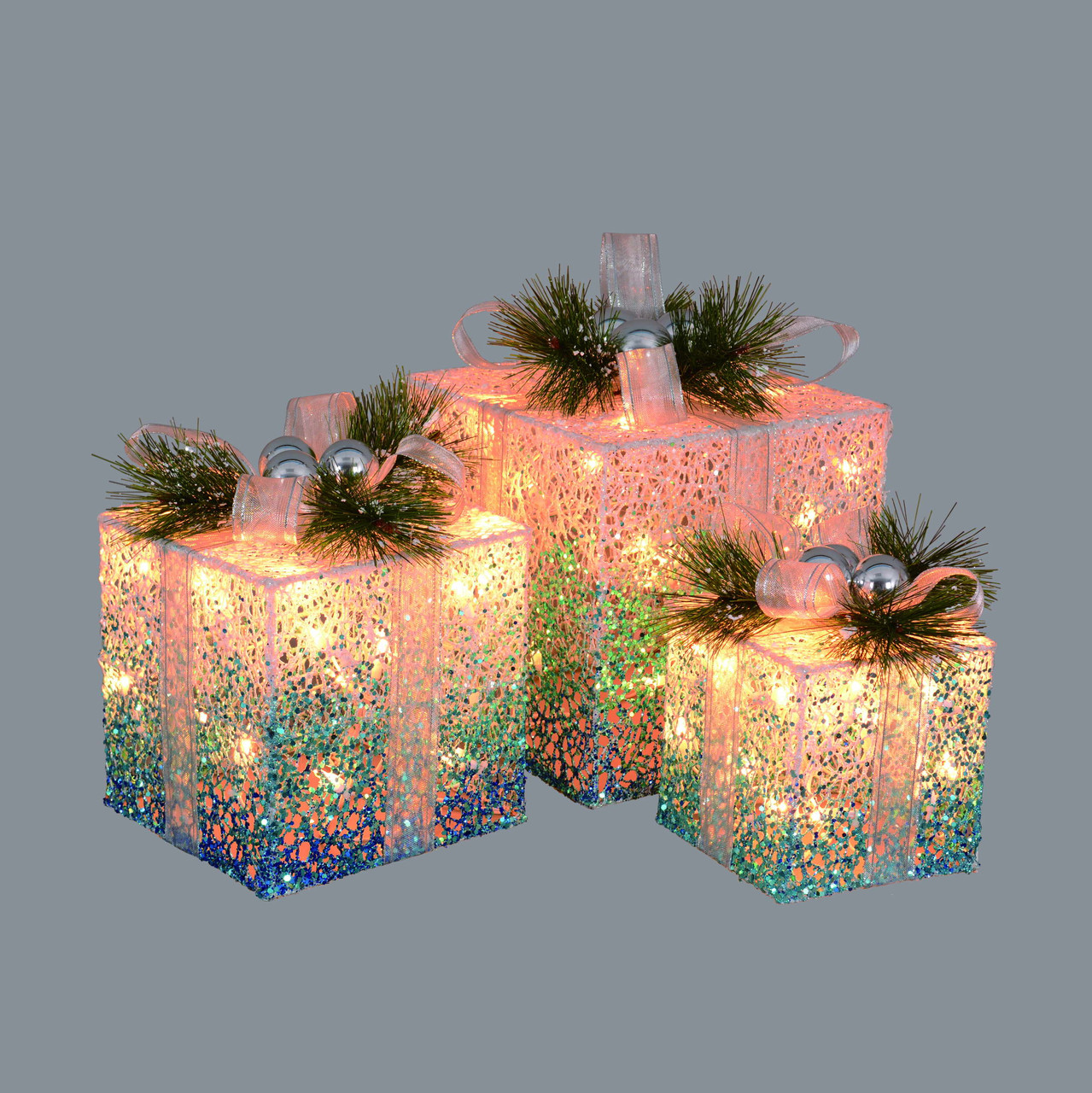 Set Of 3 Blue Green And White Decorative Lighted Christmas Gift Boxes Outdoor Decorations 12 32635003