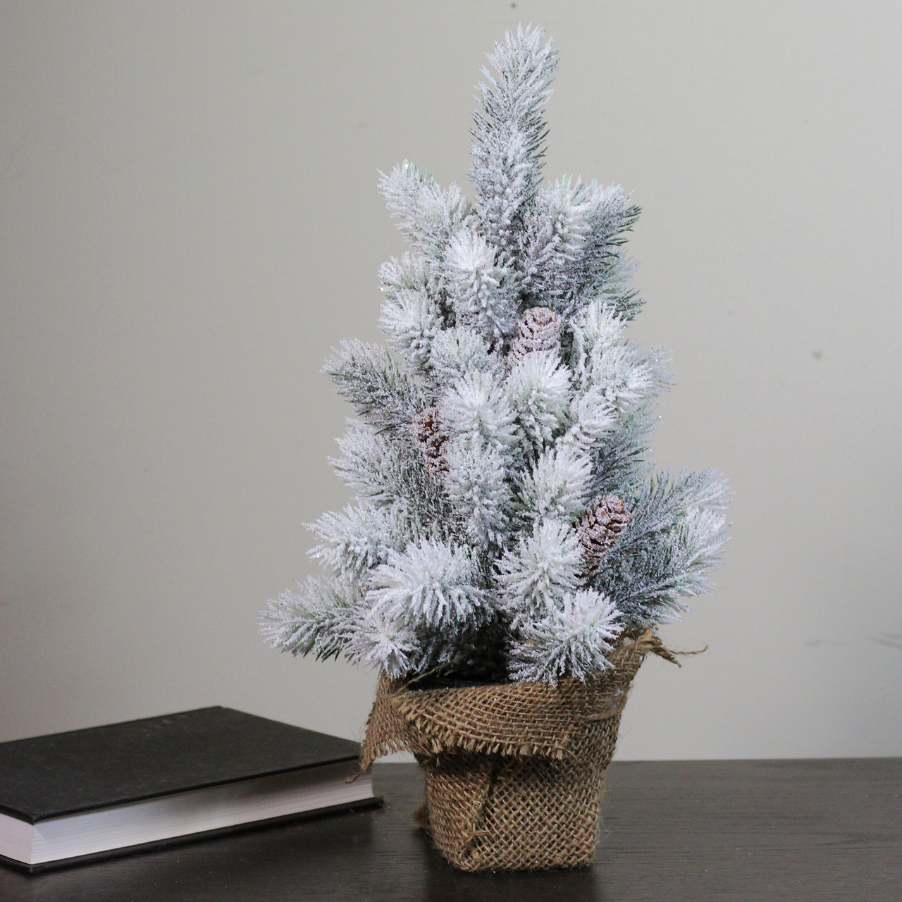 """15.5"""" Snow Flocked Green Pine Artificial Table Top Christmas Tree ..."""