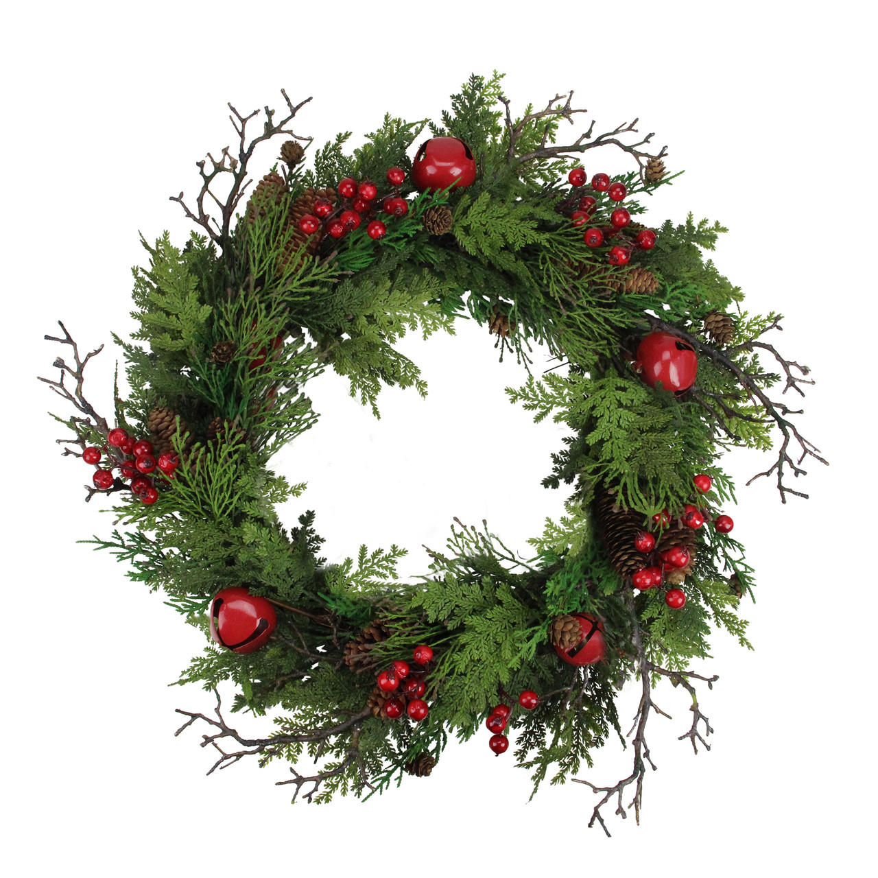 Merveilleux 24u201d Rustic Red Jingle Bell, Berry And Pine Cone Artificial Christmas Wreath    32632693