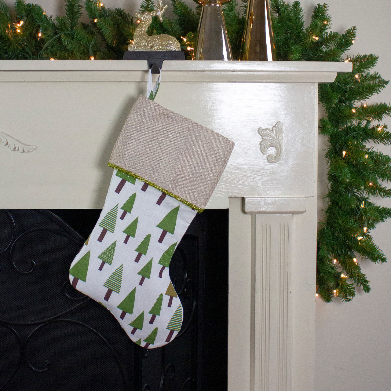 18 Quot Rustic Woodland Christmas Stocking With Green Forest