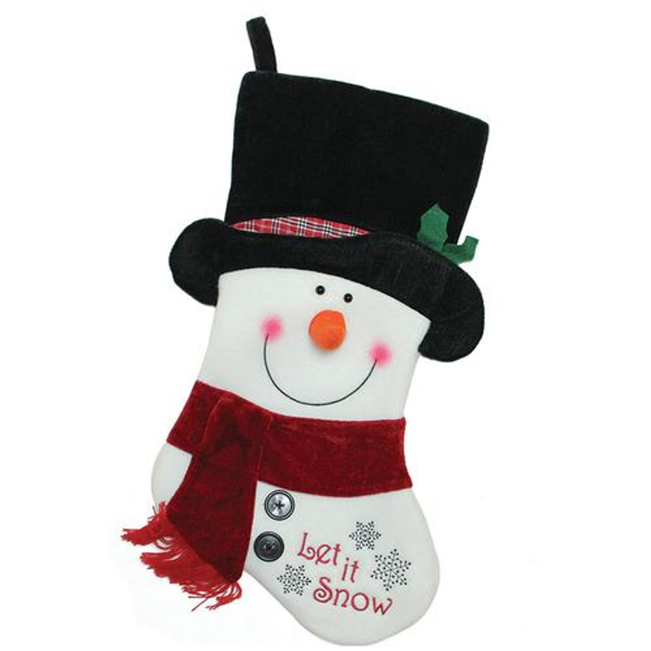 """18.5"""" Black, Red & White Embroidered """"Let It Snow!"""" Snowman ..."""