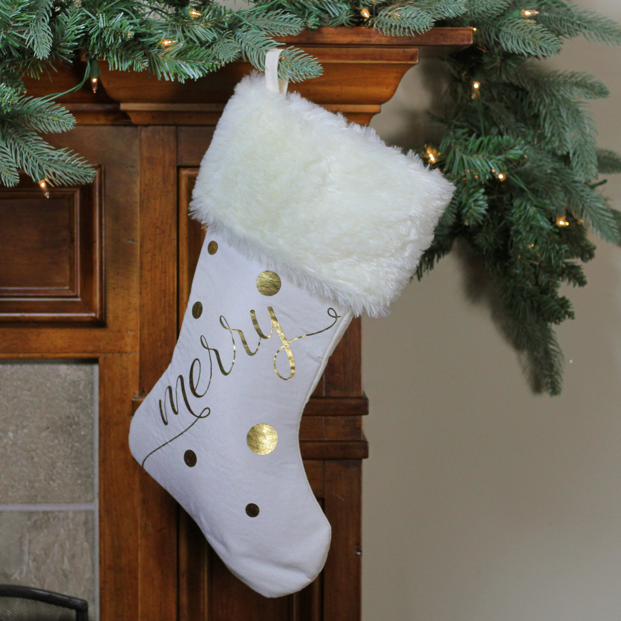 """19"""" Ivory White Gold Foil """"Merry"""" Christmas Stocking with White Faux ..."""