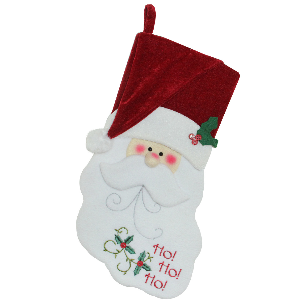 """19"""" Red & White Embroidered """"Ho! Ho! Ho!"""" Santa Face Christmas ..."""