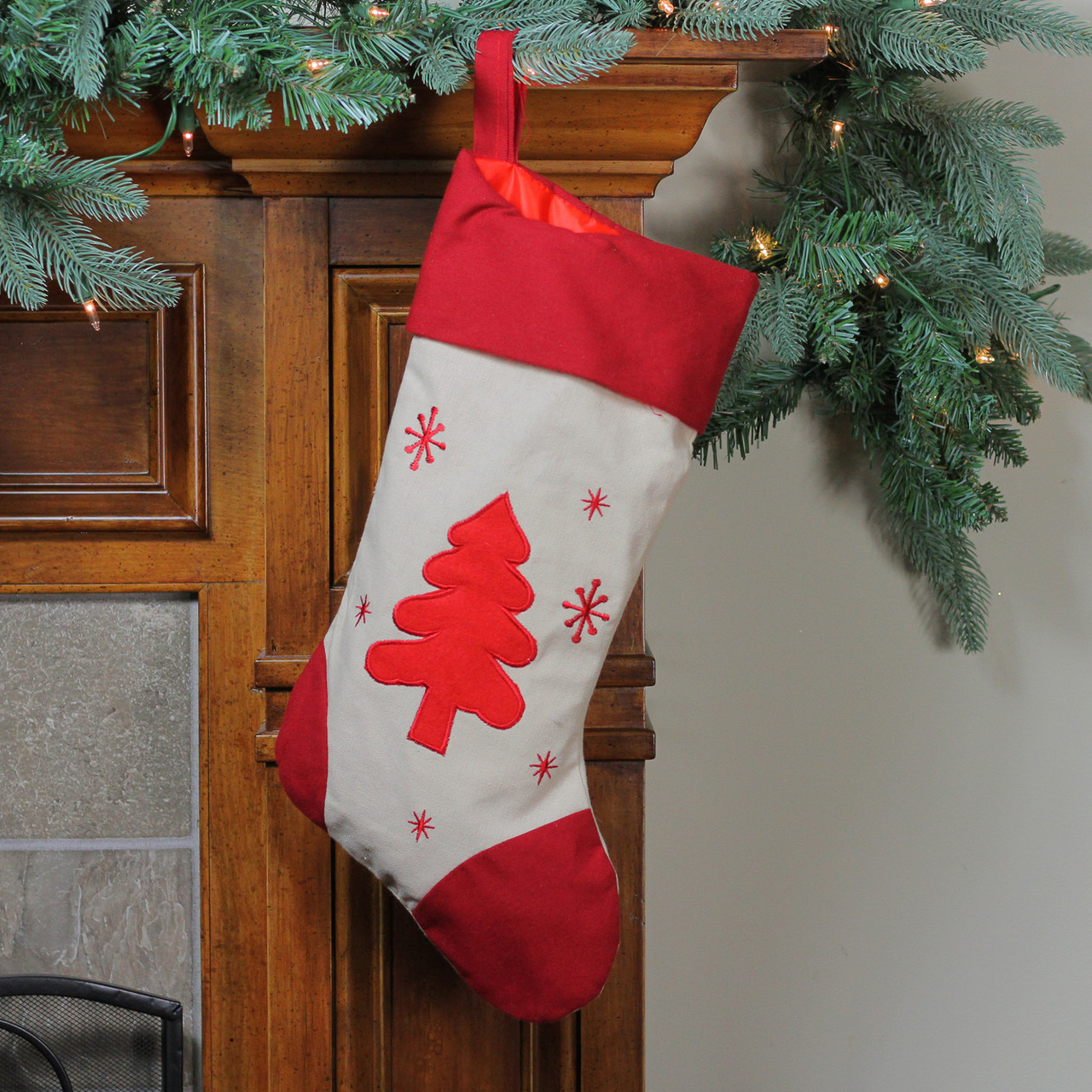 18 white and red tree with snowflakes rustic christmas stocking with red cuff 32635495 - Rustic Christmas Stocking