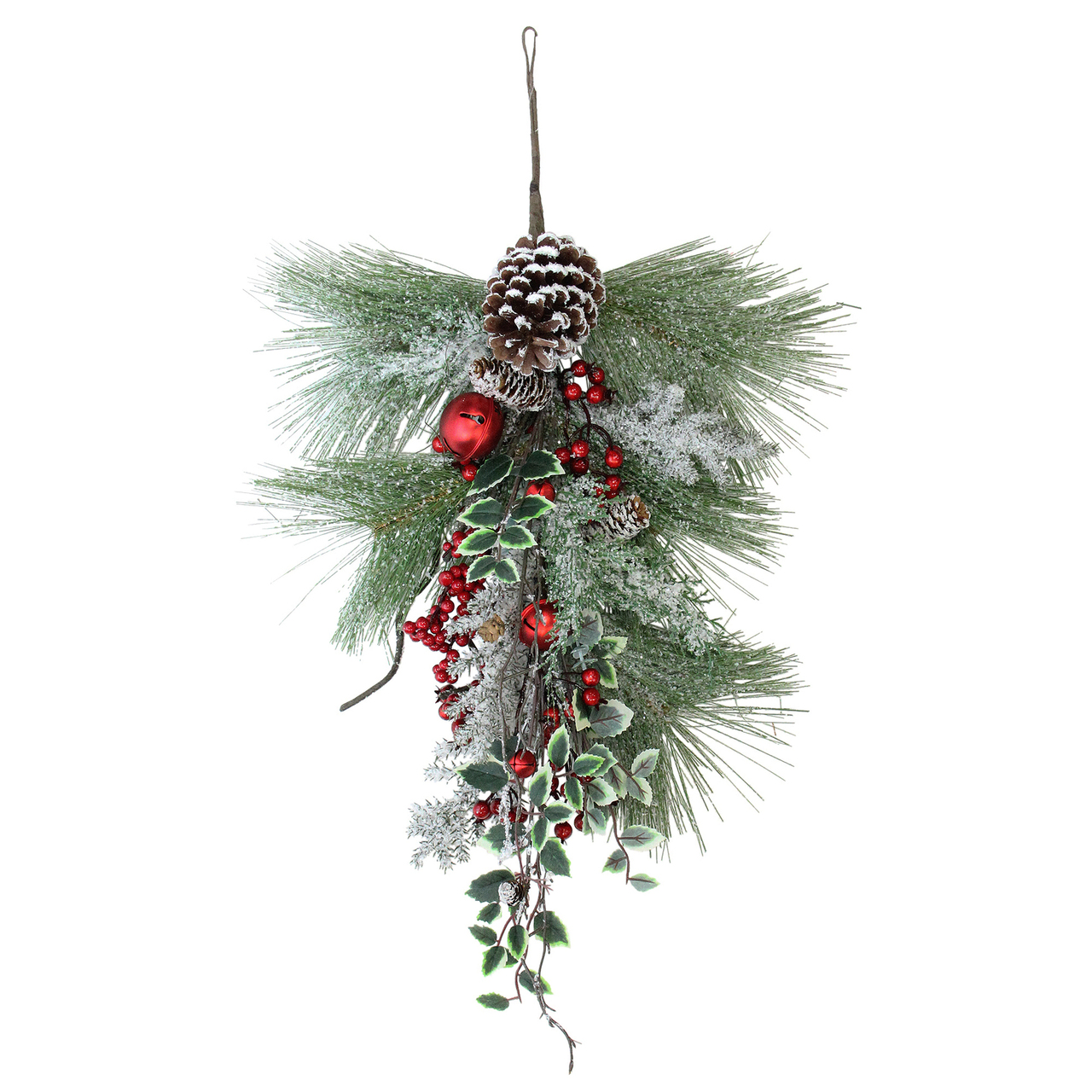 265 frosted red bells berries and pine cones artificial christmas door swag unlit 32635909
