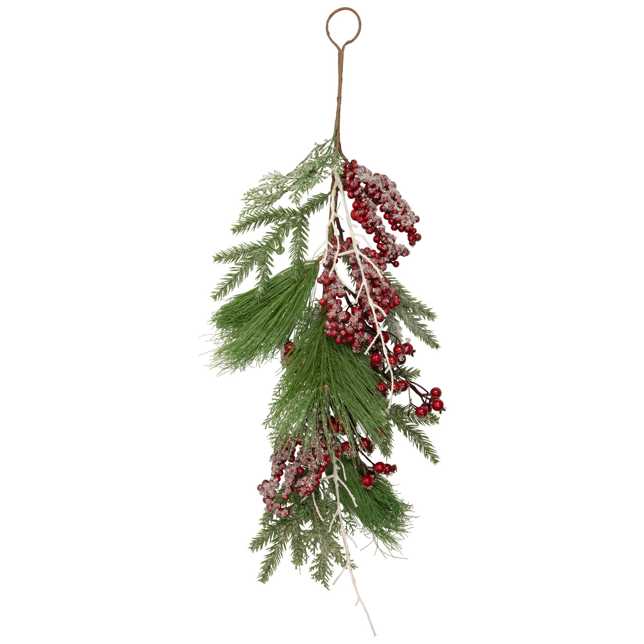 28 festive red berries pine cones and greenery artificial christmas door swag 32635916