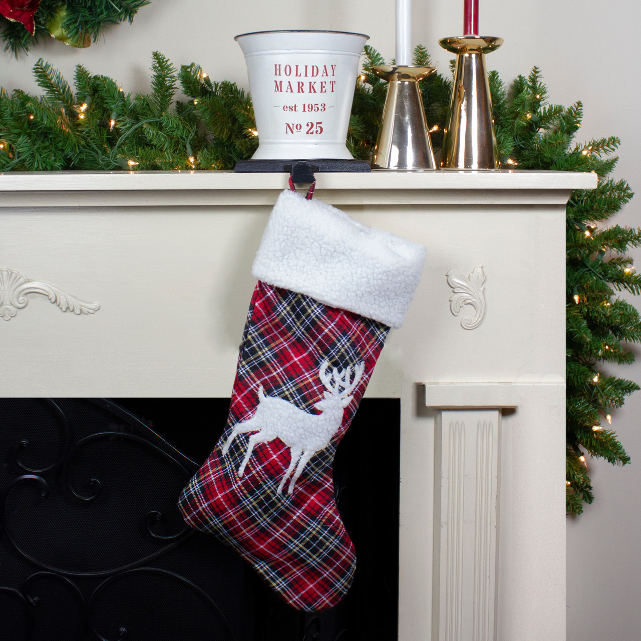 20 red white khaki and black plaid decorative christmas stocking with deer applique 32635937 - Black Christmas Stocking