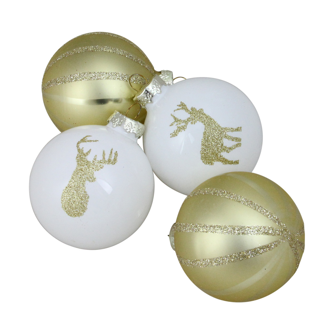 4 piece champagne gold and white striped deer christmas glass ball ornaments 35 90mm 32636329