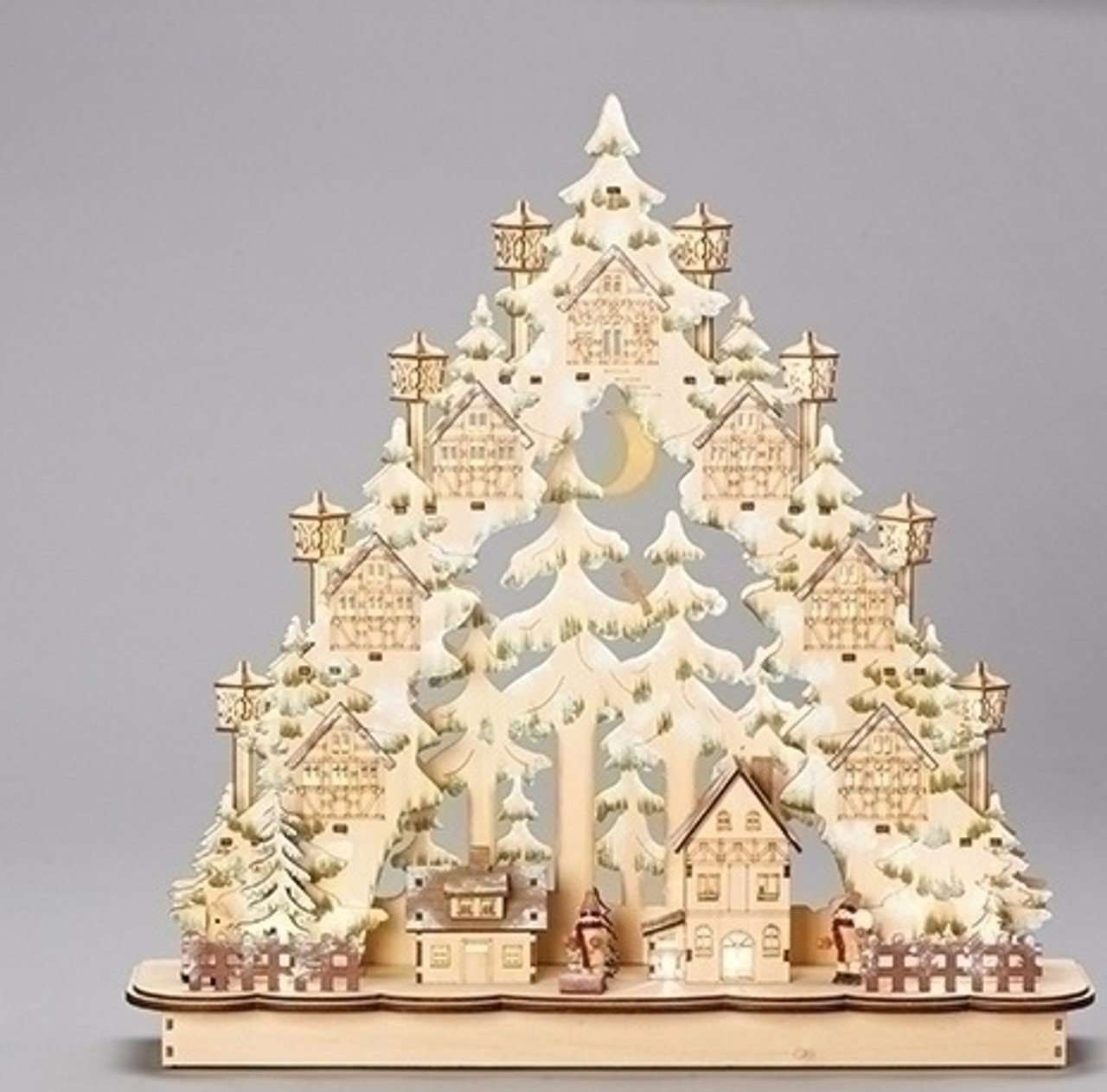 19 wooden led laser cut town in tree 32630282 - Wooden Led Christmas Decoration