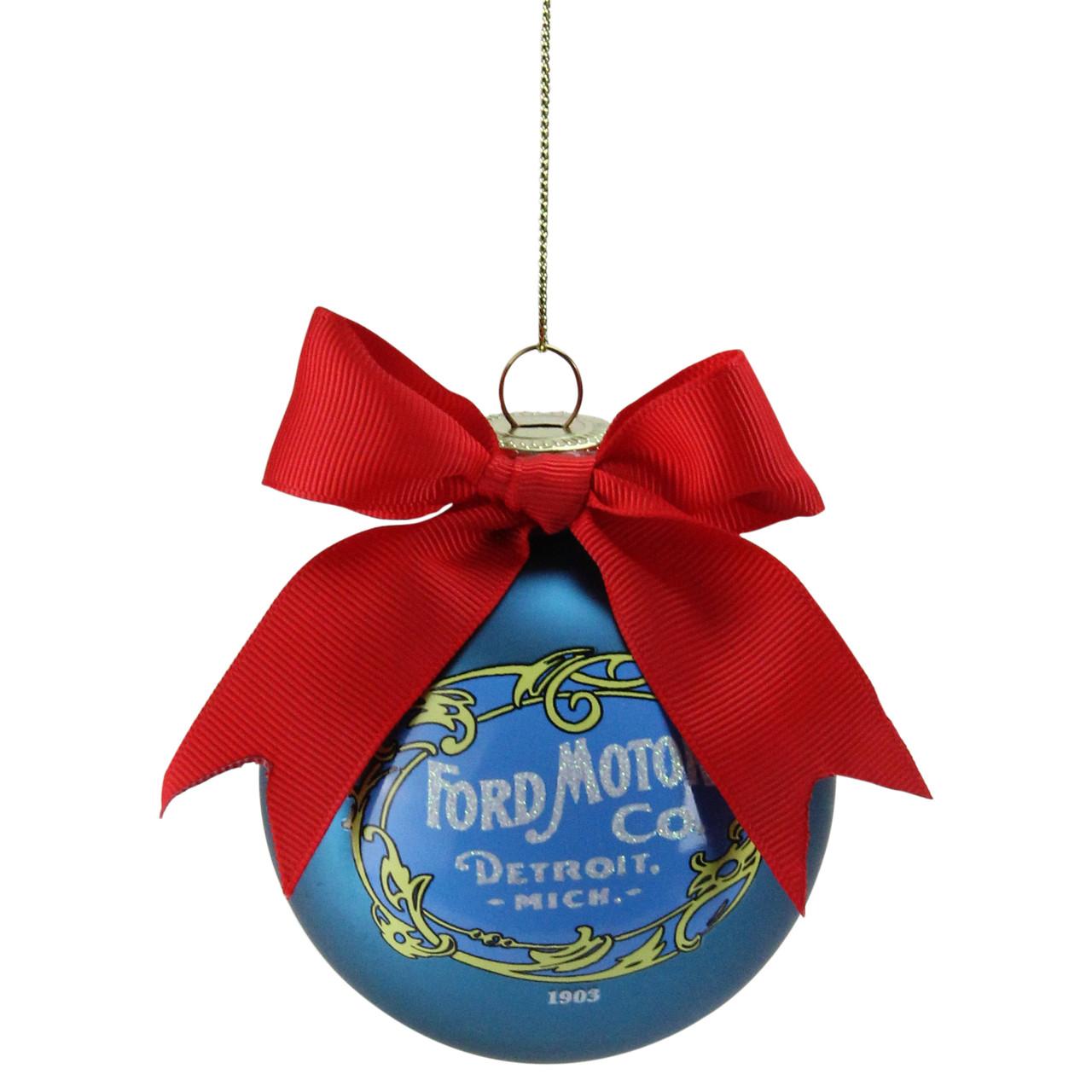 "Company Logo Christmas Ornaments: 2.75"" Blue ""Ford Motor Co."" Vintage-Style Logo Glass Ball"