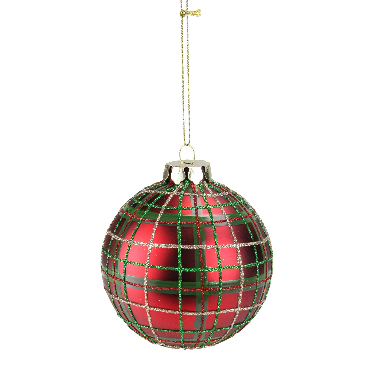 """Green, Red & Gold Plaid Glass Ball Christmas Ornament 3.25"""" (80mm ..."""