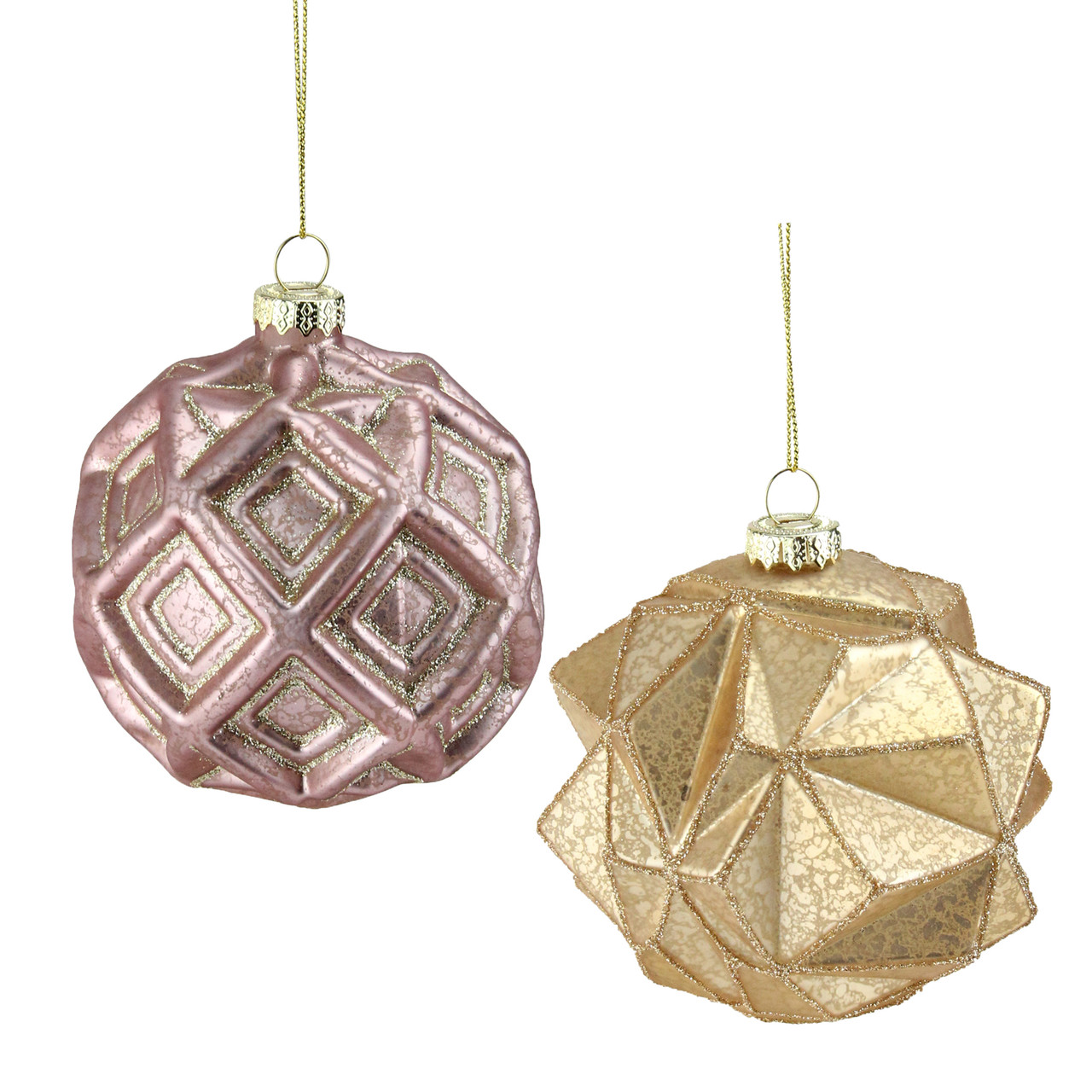 set of 2 pink and gold geometric mercury glass ball christmas ornaments 4 32637403