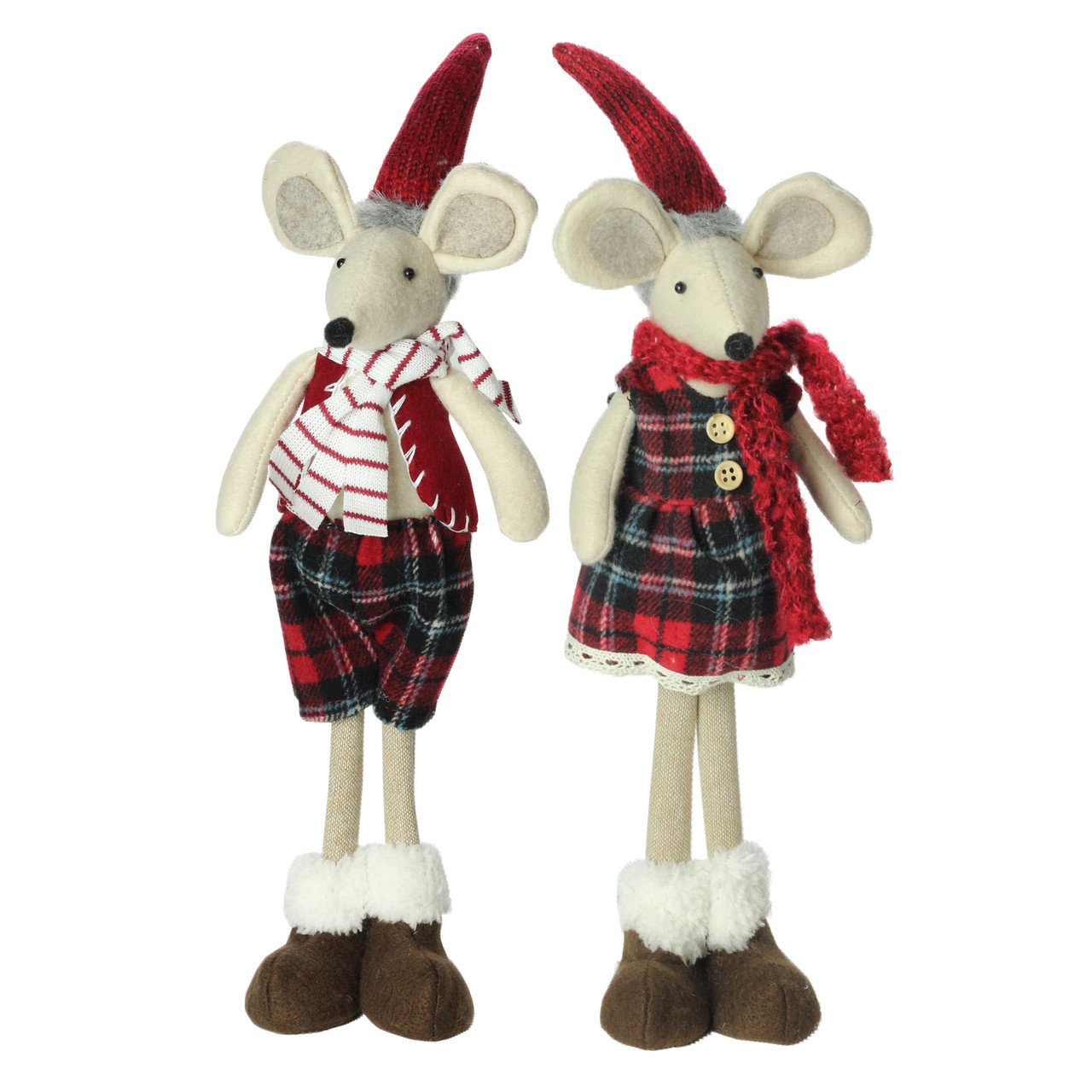 set of 2 plush red plaid standing christmas mice decorations 32637513