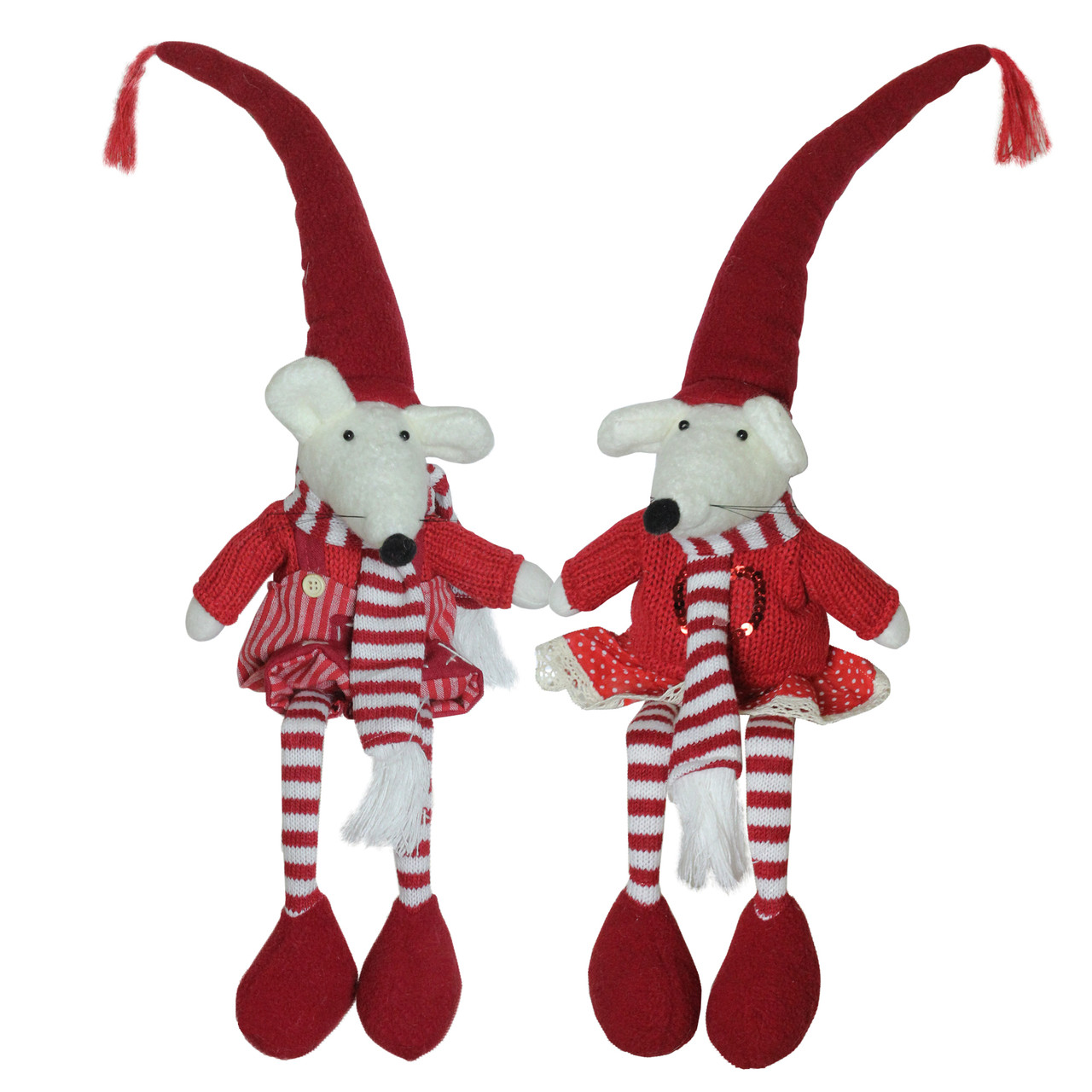 set of 2 plush red and white striped sitting christmas boy and girl mice with heart decorations 15 32637510