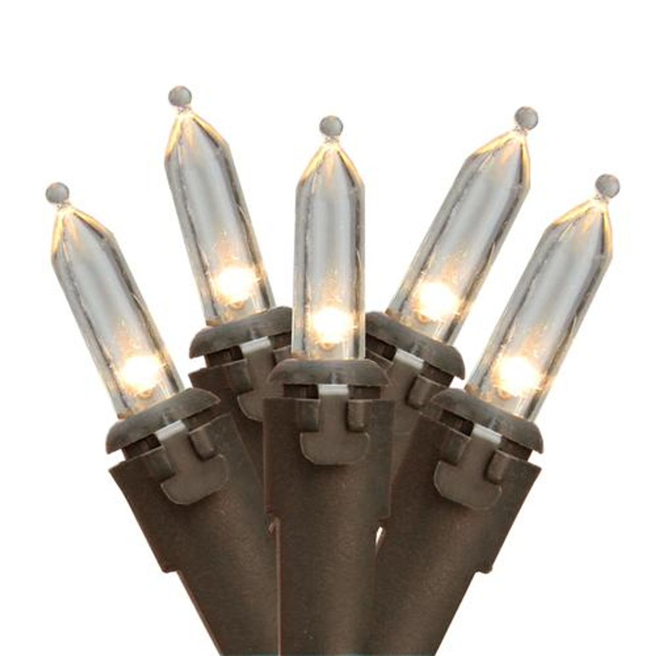 "Set of 35 Warm White LED Mini Christmas Lights 4"" Spacing - Brown ..."