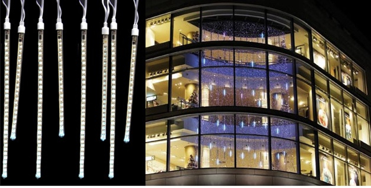80 Pure White LED Dripping Icicle Tube Christmas Lights - 10.5 ft ...
