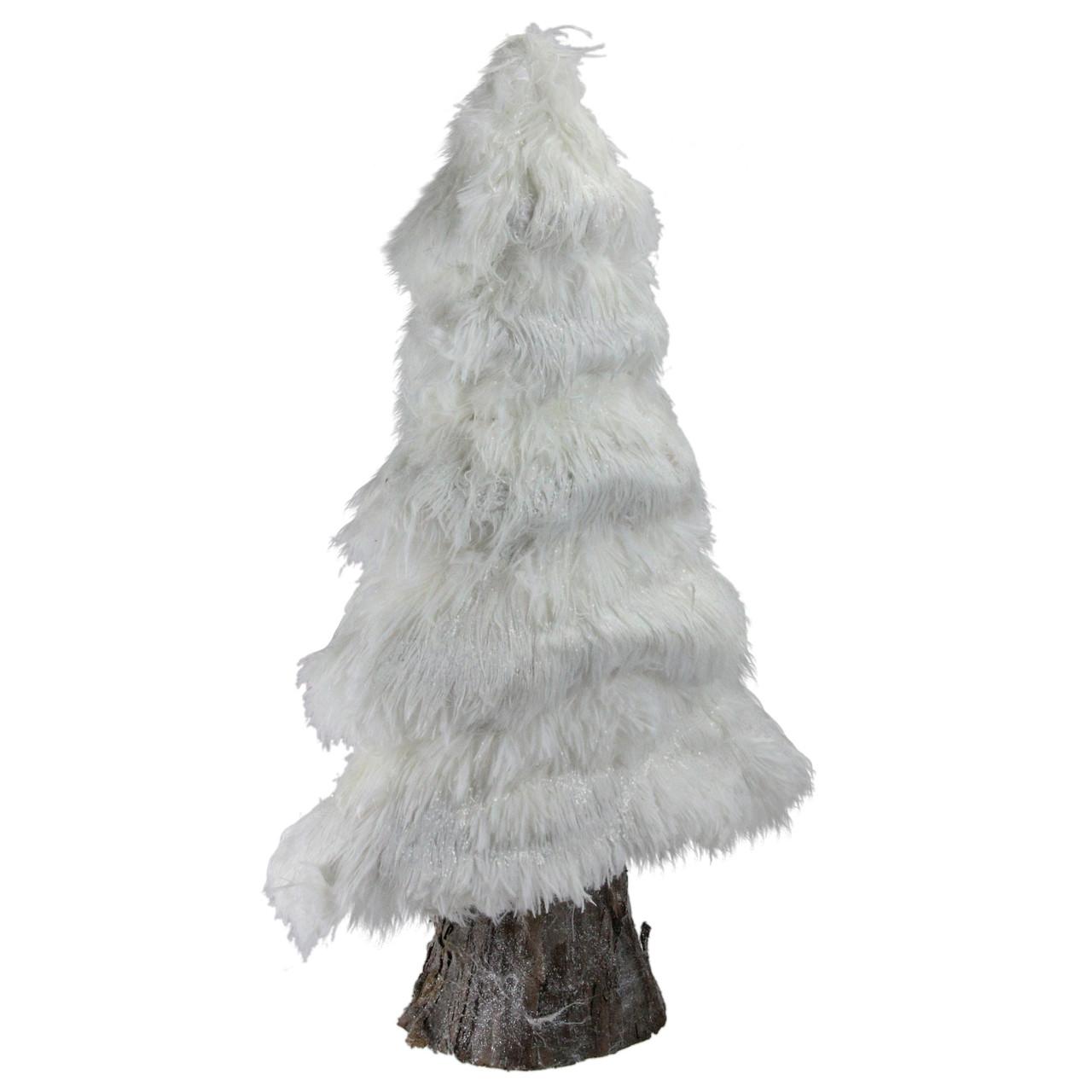 "20"" Retro Christmas White Faux Fur Holiday Tree Table Top"