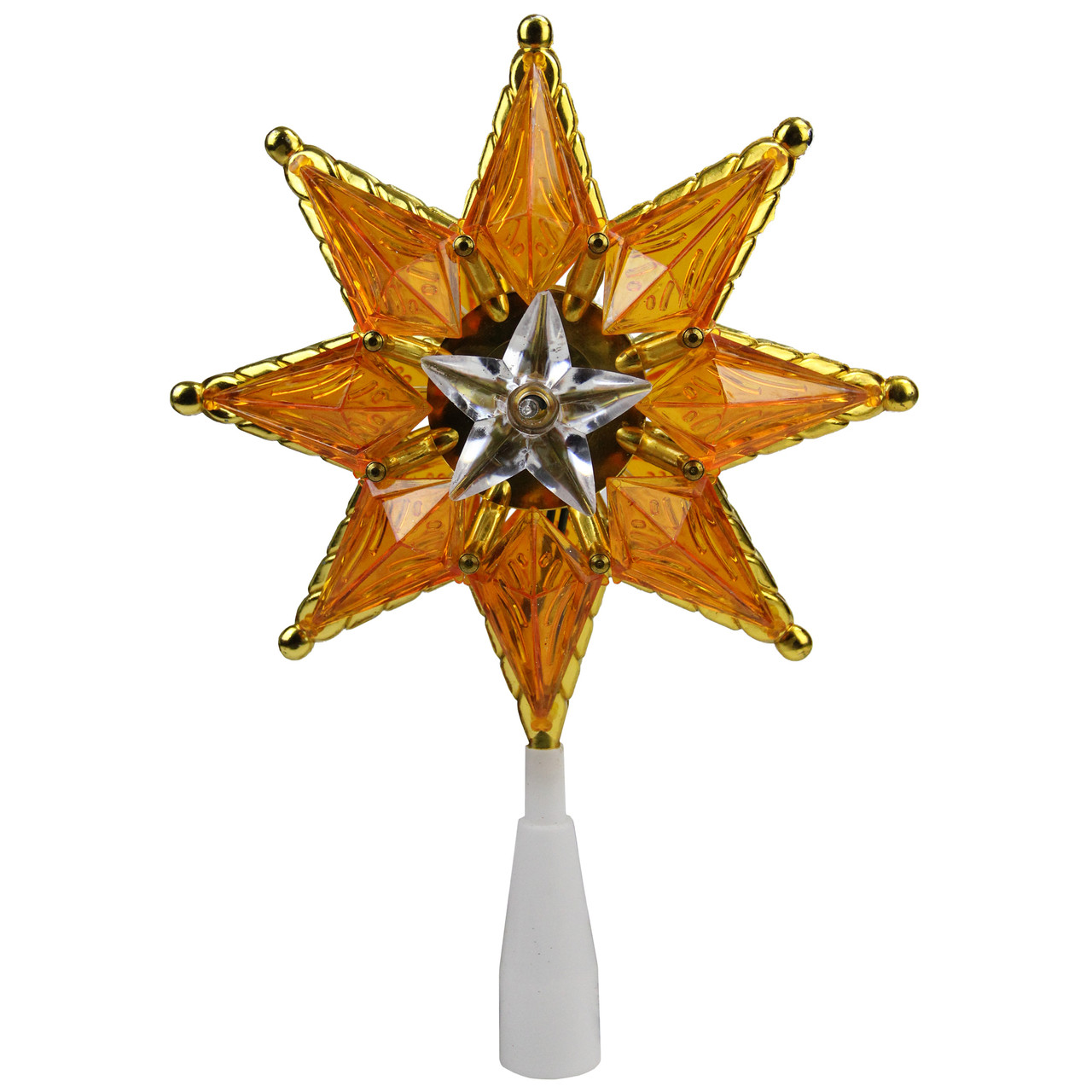 8 gold mosaic 8 point star christmas tree topper clear lights 32606316