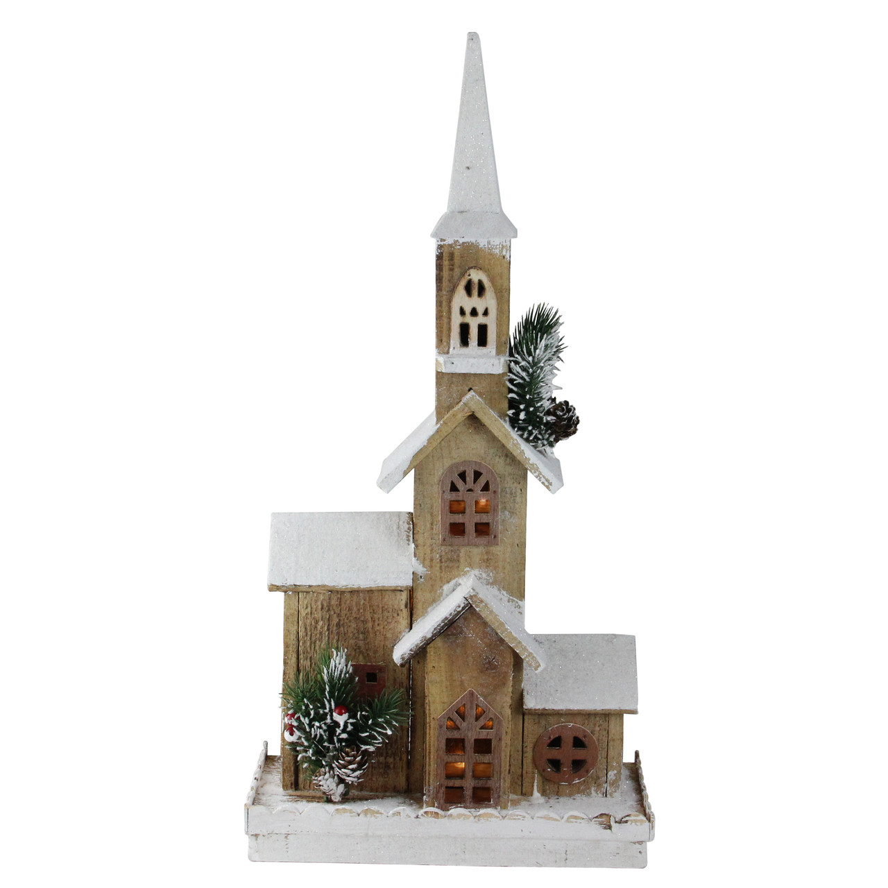 "Christmas Church Decoration: 21.25"" LED Lighted Brown Wooden Snowy Church Christmas"