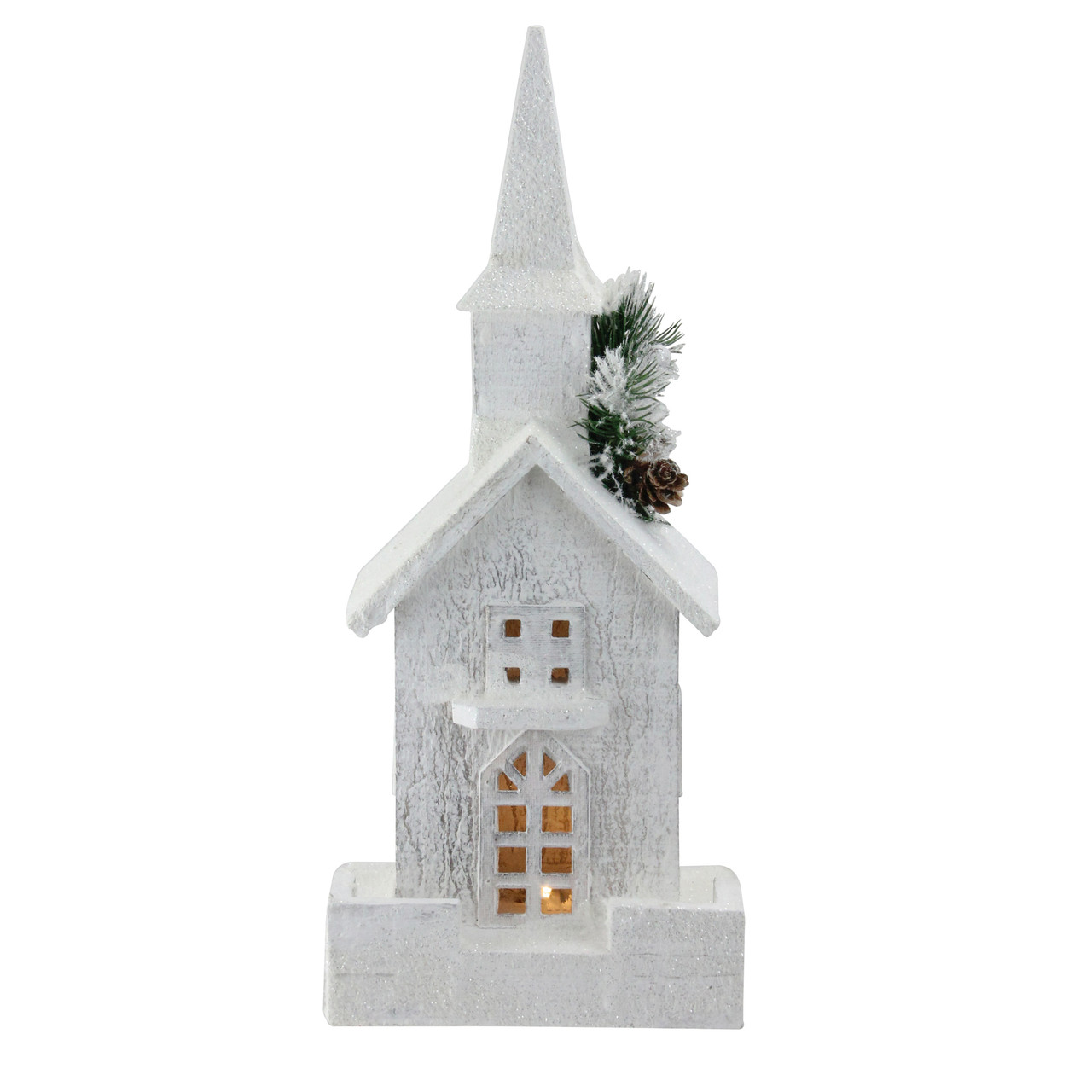 "Christmas Church Decoration: 16.5"" LED Lighted White Wooden Snowy Church Christmas"